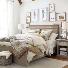 """When you """"make"""" your bed in the morning so it looks extra inviting when you get home #mypotterybarn #bedroomgoals #homedecor #homeinspiration"""