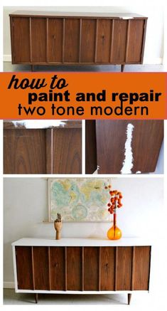 Tone Mid Century Modern Furniture How to paint and repair! Two tone mid century modernHow to paint and repair! Two tone mid century modern Redo Furniture, Refinishing Furniture, Mid Century Modern Furniture Makeover, Bedroom Furniture Makeover, Repurposed Furniture, Mid Century Dresser, Furniture Makeover, Mid Century Decor, Modern Furniture Makeover