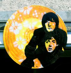 John Lennon and Paul McCartney of the Beatles Spray-Painted on Record (Vinyl) | Ace Troy Pop Art