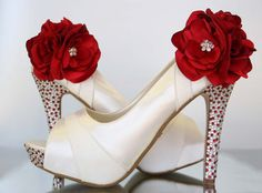 Wedding Shoes Ivory Platform Peep Toe by DesignYourPedestal