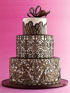 www.weddbook.com ♥ chocolate lace on wedding cake