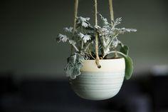 Ceramic Hanging Planter - hanging planter  pottery planter - pottery hanging planter - handmade - wheel thrown - turquoise blue - light blue