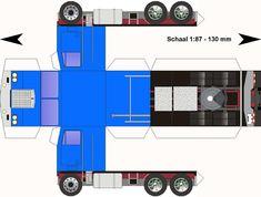 Lorry Papercraft   Kenworth-K123-blauw