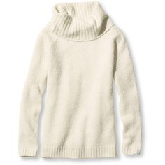 L.L.Bean Cozy Boucle Sweaters, Cowlneck Pullover ($70) ❤ liked on Polyvore featuring tops, sweaters, white pullover, cowl neck tops, white cowl neck top, fitted tops and pullover sweater