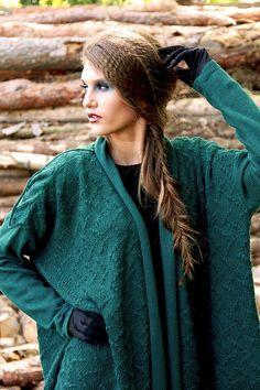 Emerald Oversized Cardigan Knitted Merino Wool by BVLifeStyle, €120.98
