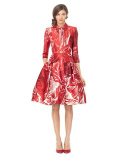 3/4 SLEEVE SHIRT DRESS WITH FULL SKIRT - Oscar de la Renta Dresses - Designer Fashion Dresses by Oscar De La Renta - Oscar de la Renta