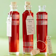 DIY Pomegranate Syrup - Pomegranate Syrup A tasty food gift is the present everyone loves. Drizzle this tangy syrup over pound cake or ice cream, or add a dash to cocktails. To package, wrap rice-paper tape (also called washi tape) around the top or bottom of an apothecary bottle for a quick embellishment. Tie a gift tag or love note to the neck of the bottle with twine.