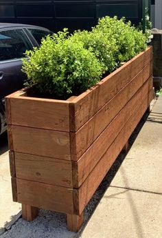 I delivered a 96 inch long by 20 inch deep by 36 inch tall planter box yesterday. It was heavy. Actually I assembled it on site so it wasn't that heavy. But it's still heavy. I'm going to stop now. Long Planter Boxes, Tall Planters, Wood Planters, Garden Planters, Planter Box Plans, Wood Planter Box, Backyard Patio Designs, Backyard Landscaping, Landscape Design Plans