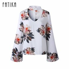FATIKA 2017 New Fashion Women Floral Printed Flare Sleeve Blouses Ladies Sexy Hollow Out Slim Shirts Tops #Affiliate