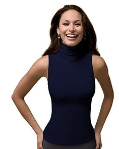 Turtle necks and halter tops look great on me. Great versatile piece for pairing with other, bolder things. Navy.