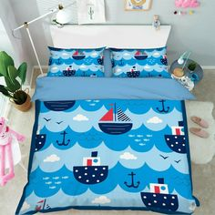 3D Blue Sailing Nautical Fish KEP685 Bed Pillowcases Quilt Duvet Cover Kay | eBay Photo Mural, Wooden Stairs, Pink And White Flowers, Boy Quilts, Duvet Sets, Tile Patterns, Quilt Cover, Wall Art Designs, Bed Covers