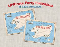 Free printable pirate Birthday invites.  Follow this link for a free garland and party favors too.