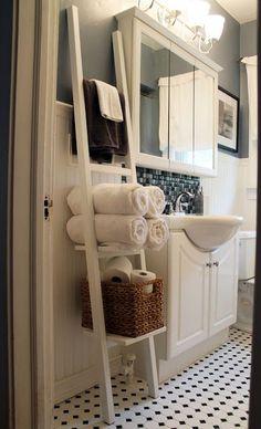 Bathroom - Towel Storage  http://www.amazon.com/RiverRidge-Home-Products-06-035-Ladder/dp/B00C97JY1I/ref=sr_1_7?s=home-garden&ie=UTF8&qid=1415848813&sr=1-7&keywords=%22ladder+shelf%22