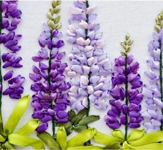 Silk Ribbon Embroidery. Violet Lupines.