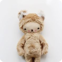 Kawaii Teddy Bär Plüsch Tier in cremigen Karamell von bijoukitty, $48.00