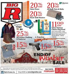 Get some great in-store deals @ Big R with this great flyer! February 22, 23, & 24 of 2014