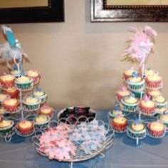 Cupcakes had a surprise color inside, pink or blue! Great baby shower idea