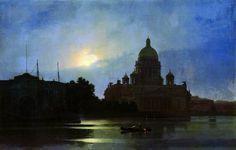 View of the Isaac Cathedral at Moonlight Night, 1869 Arkhip Kuindzhi