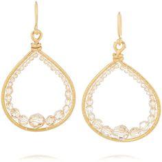 Chan Luu Gold-plated Swarovski crystal earrings ($145) ❤ liked on Polyvore featuring jewelry, earrings, gold, gold plated jewelry, gold plated jewellery, swarovski crystal jewellery, swarovski crystals jewelry and chan luu earrings