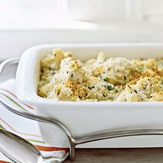 Gratin of Cauliflower with Gruyère.  I made this and it is awesome!  The sauce would also be awesome on pasta, fish, poultry or beef.  I used half whipping cream and half fat-free half & half.