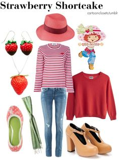 Fashion Inspired By Strawberry Shortcake Halloween Costumes For Kids, Costumes For Women, Halloween Party, Halloween Ideas, Strawberry Shortcake Costume, Cheap Michael Kors Bags, Disney Themed Outfits, Red Long Sleeve Tops, Homemade Costumes