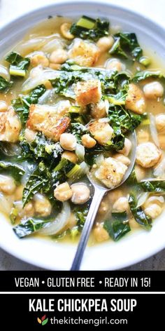 kale chickpea soup aka beans and greens soup is a quick healthy dinner for the whole family! This plant-based soup is made with kale chickpeas and a few pantry ingredients. Best Soup Recipes, Healthy Soup Recipes, Chili Recipes, Dinner Recipes, Kale Recipes, Mexican Recipes, Crockpot Recipes, Vegetarian Soup, Vegetarian Recipes