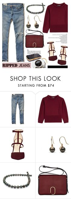 """""""Style This Trend: Ripped Jeans"""" by pearlparadise ❤ liked on Polyvore featuring Hollister Co., Alexander McQueen, Nine West, 3.1 Phillip Lim, Case-Mate, rippedjeans, contestentry, pearljewelry and pearlparadise"""