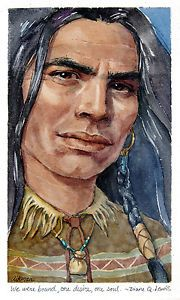 Gouache painting of a Native American by Geraldine Aikman: We Were Bound This is a very small painting, framed and I really like the expression on the man's face. Small Paintings, Original Paintings, Art Paintings, Native American Indians, Native Americans, Tribal People, Stock Art, Gouache Painting, Male Face