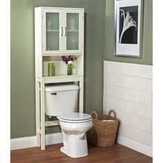 @Overstock.com - Frosted Pane Space Saver - Place this white bathroom space…