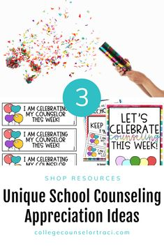Are you looking for National School Counseling Week Ideas? This Rainbow celebration poster and bulletin board set is perfect for celebrating and appreciating the counselors in your school! Celebrate your school counselors that help students with college and career readiness endeavors! Counselors are the glue that holds the school together and helps students get to college and a dream career! Shop College Counselor Traci for more ideas! #schoolcounseling #nationalschoolcounselingweek #NSCW Counselor Bulletin Boards, Counselor Office, National School Counseling Week, All Colleges, College Success, Dream Career, Rainbow Theme, Appreciation Gifts, Celebration