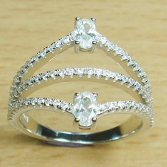 Oval Cut Round Cut Micro Setting White CZ 925 Sterling Silver Ring
