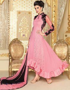 ce06663e6a2 Pink Georgette Designer Anarkali Suit Designer Salwar Suits