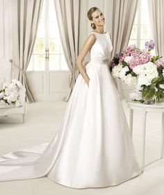 Simple Ball Gown Bateau Straps Beading Bow(s) Buttons Floor-length Watteau Train Satin Wedding Dresses