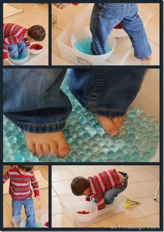 Water Beads and Red Gems... Such fun!