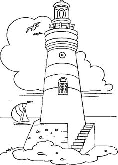 lighthouse coloring pages for adults | Coloring lighthouse with staircases picture
