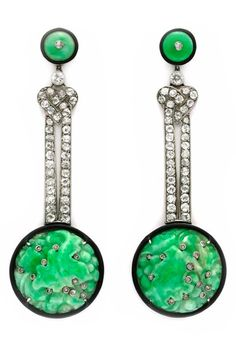 A Pair of Art Deco Carved Jade, Enamel and Diamond Ear Pendants, circa 1925. #ArtDeco #earrings