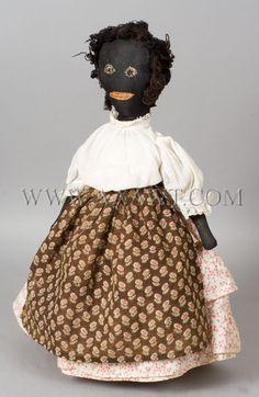 Antique Doll, Black Rag Doll, Primitive, angle view