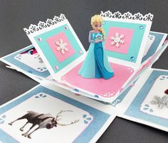 Handmade Elsa Frozen Exploding Box Card by CraftyGalCards on Etsy