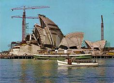 The Sydney Opera House under construction. Great Places, Places To See, Sydney Ferries, Gaudi, Architecture Organique, Coral Castle, Jorn Utzon, Terra Australis, Land Of Oz