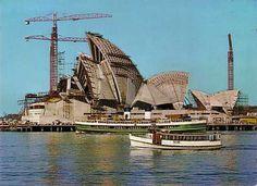 The Sydney Opera House under construction. Sydney Ferries, Gaudi, Architecture Organique, Coral Castle, Jorn Utzon, Land Of Oz, Famous Landmarks, Melbourne, Largest Countries