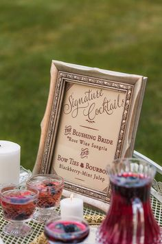 A vintage inspired wedding drink sign in a gorgeous shade of Marsala. Signature cocktails never looked so good!