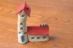 Miniature Houses with birds Red ceramic house tiny house Rustic Tiny Houses little house miniature home housewarming tiny cottage country