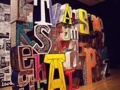 Hand-drawn type translated to 3-D sculpture on exhibit. Javier Mariscal Retrospective