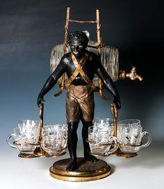 RARE Antique French Blackamoor Liqueur Cabaret, Caddy or Service, Napoleon III Era