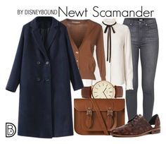 """""""Newt Scamander"""" by leslieakay ❤ liked on Polyvore featuring Paige Denim, Frame, Relish, BKE, The Cambridge Satchel Company, Freda Salvador, harrypotter and disneybound"""