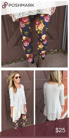 NEW IN Super soft Charcoal Rose leggings! Gorgeous and amazingly SOFT charcoal gray leggings with rose floral print! Beautiful spring colors! So comfortable!! One size, fits up to size 12 comfortably. 92% Polyester 8% Spandex. **Infinity Raine leggings are a favorite among buyers, see the love notes that I have received!!** Infinity Raine Pants Leggings