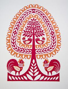 Polish folk art inspired   tree I like the color, too.