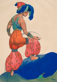 Léon Bakst (1866-1924). Schéhérazade, Costume design for The Blue Sultana, 1922. Watercolor, pencil and gold paint. Howard D. Rothschild. Framed storage. MS Thr 414.4 (221). Bequest, 1989.