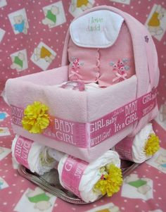 Baby Shower DIAPERS-Baby Girl Buggy...