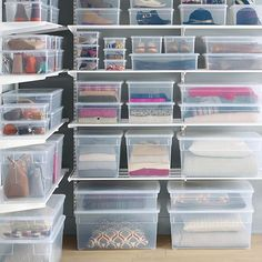 The Container Store clear storage boxes. Every size imaginable and cheaper than Sterilite at Home Depot. Very easy to see through too.